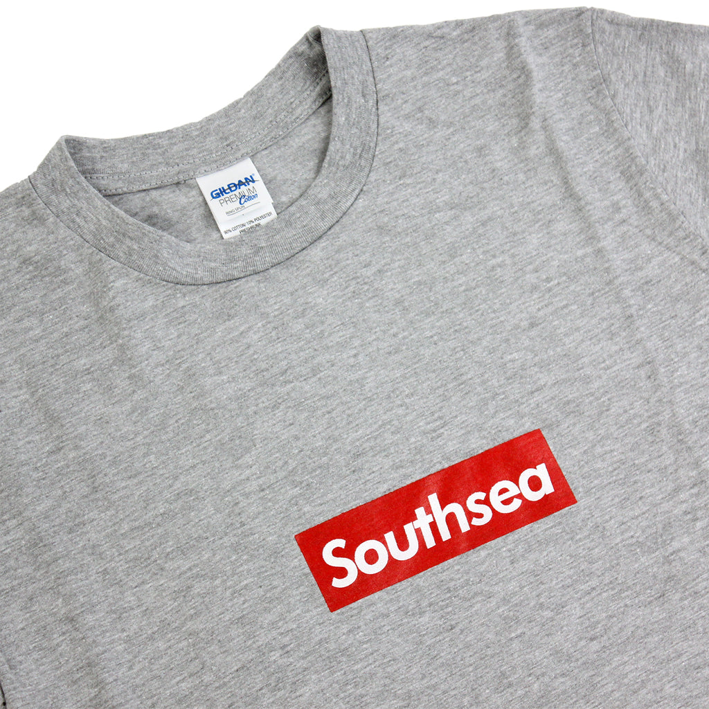"Bored of Southsea Southsea"" T Shirt in Heather Grey / Red Box - Detail"