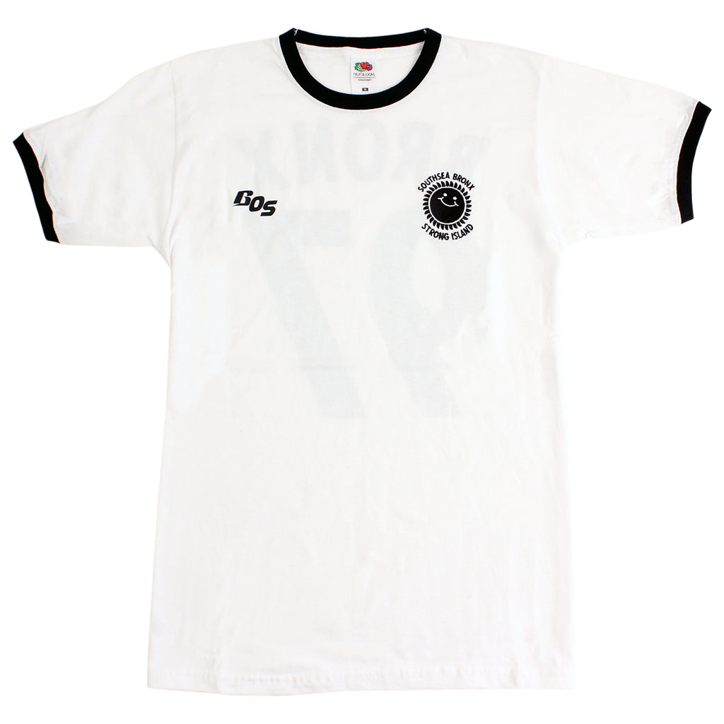 Southsea Bronx Strong Island Football T Shirt in White / Black