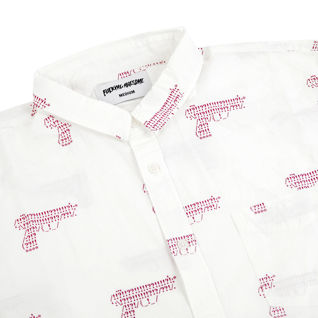 Fucking Awesome Gun Button Down Shirt in White - Detail