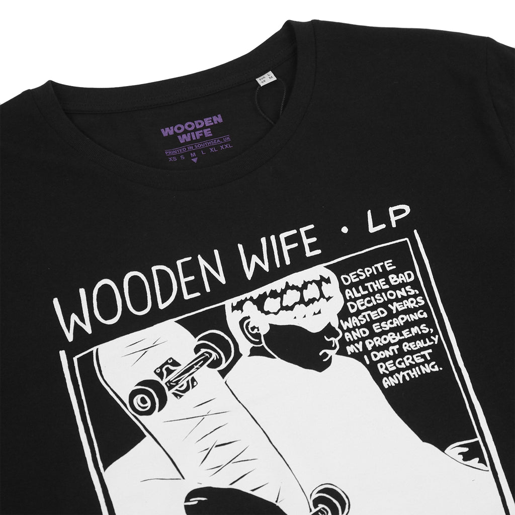 Wooden Wife Skateboards Sonic T Shirt in Black - Detail