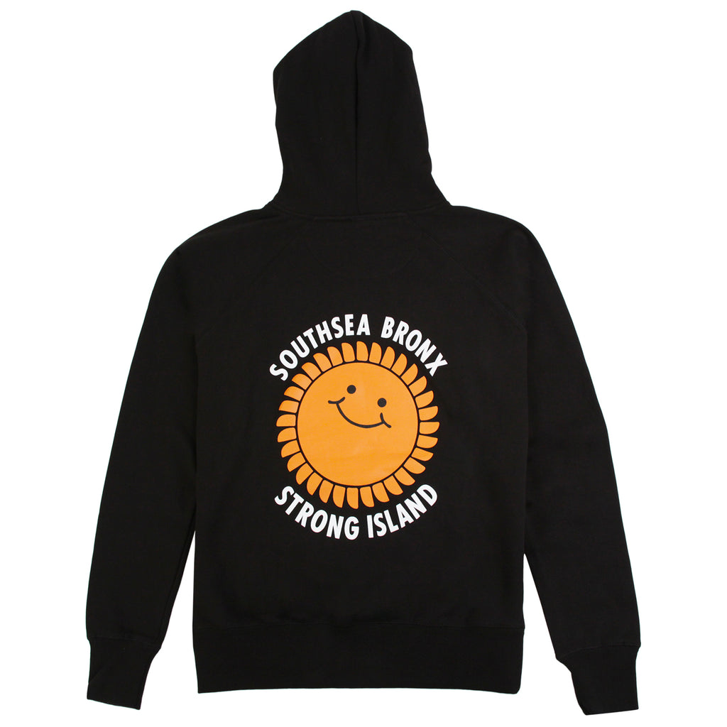 Southsea Bronx Strong Island Embroidered Hoodie in Black - Back