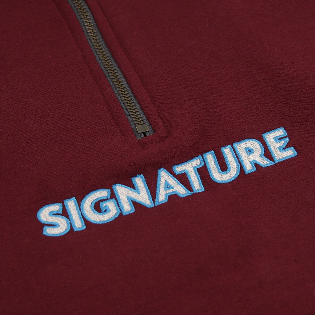 Signature Clothing Classic Logo Embroidered 1/4 Zip in Maroon - Embroidery