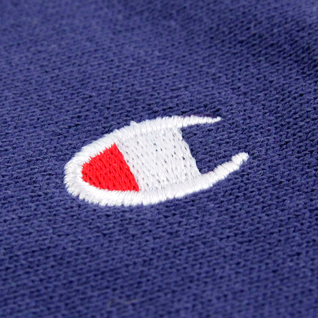 Champion Reverse Weave Crew Neck Sweatshirt in ISB Blue - Detail