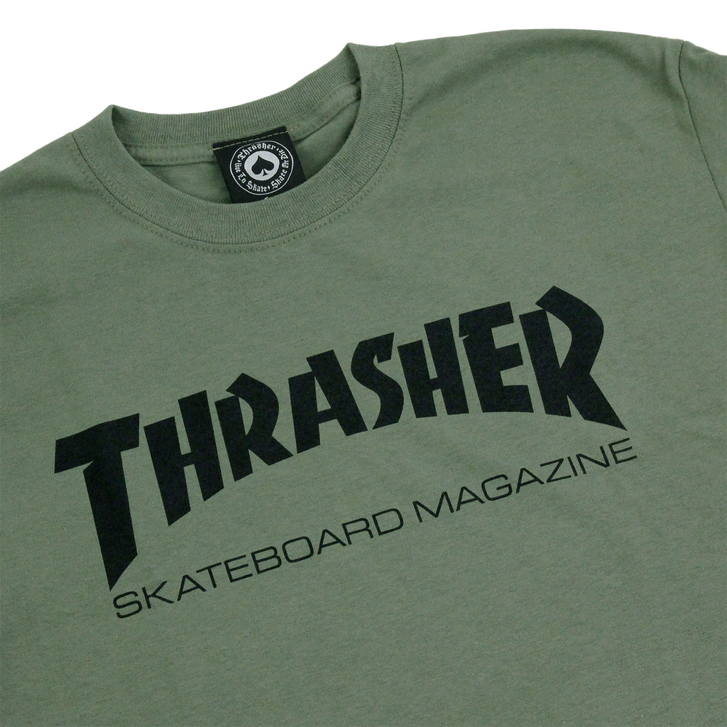 Thrasher Skate Mag Logo T Shirt in Army Green - Detail