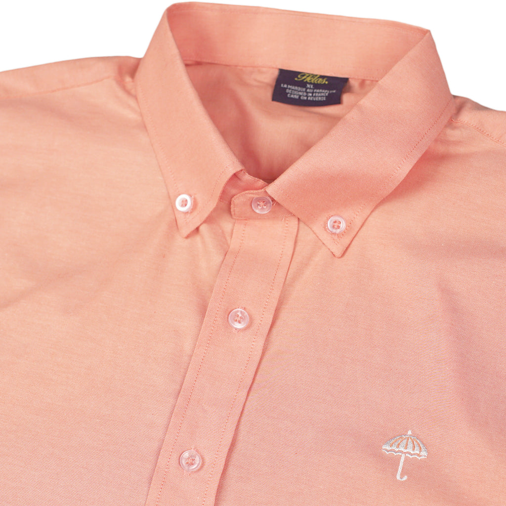 Helas Classic Long Sleeve Shirt in Salmon Pink - Detail