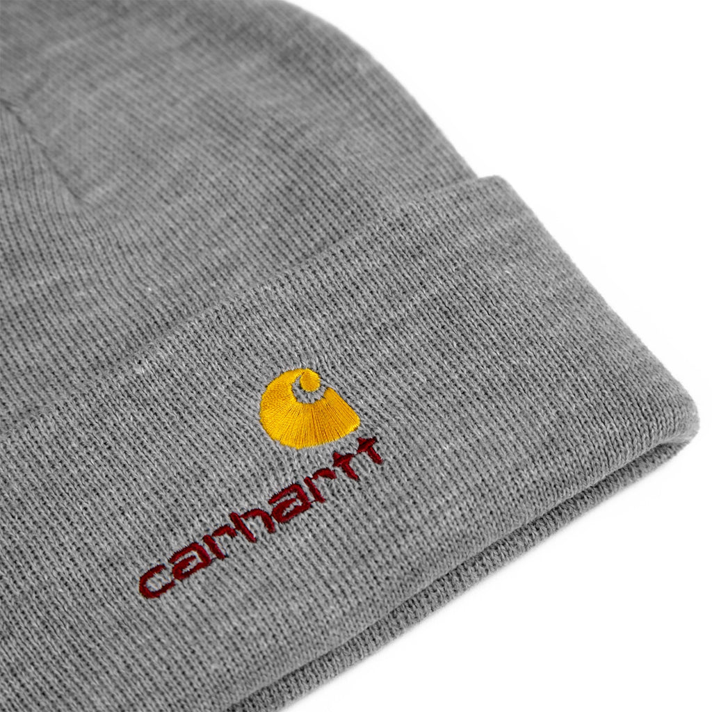 b505ecfc453 Carhartt American Script Beanie in Grey Heather - Detail