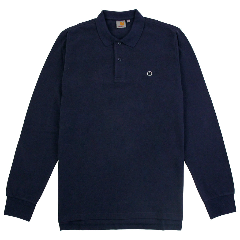 Carhartt WIP L/S Patch Polo Shirt in Blue