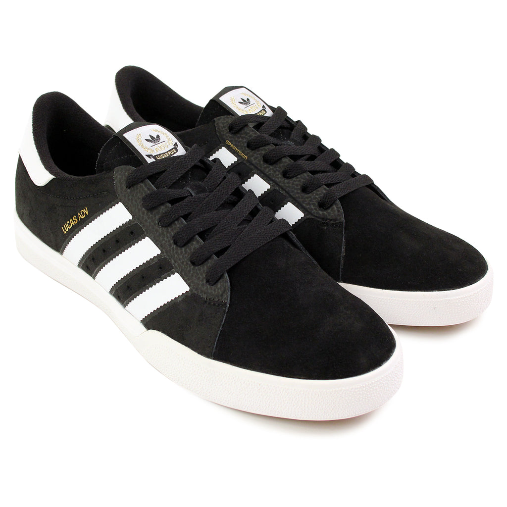 Adidas Skateboarding Lucas ADV Shoes in Core Black/FTW White/Gold Metallic - Pair