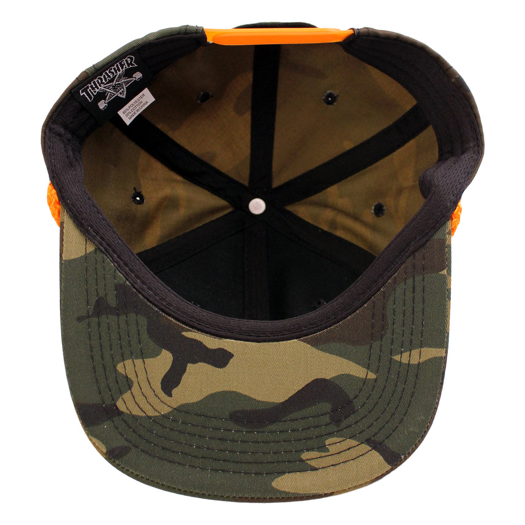Thrasher Rope Cap in Camo - Inside