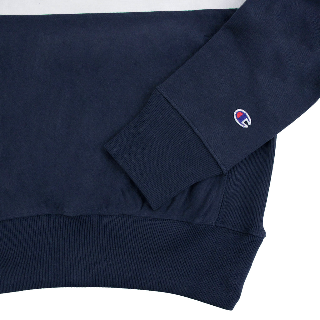 Champion 3 Panel Crew Neck Sweatshirt in Navy / White / Red - Cuff