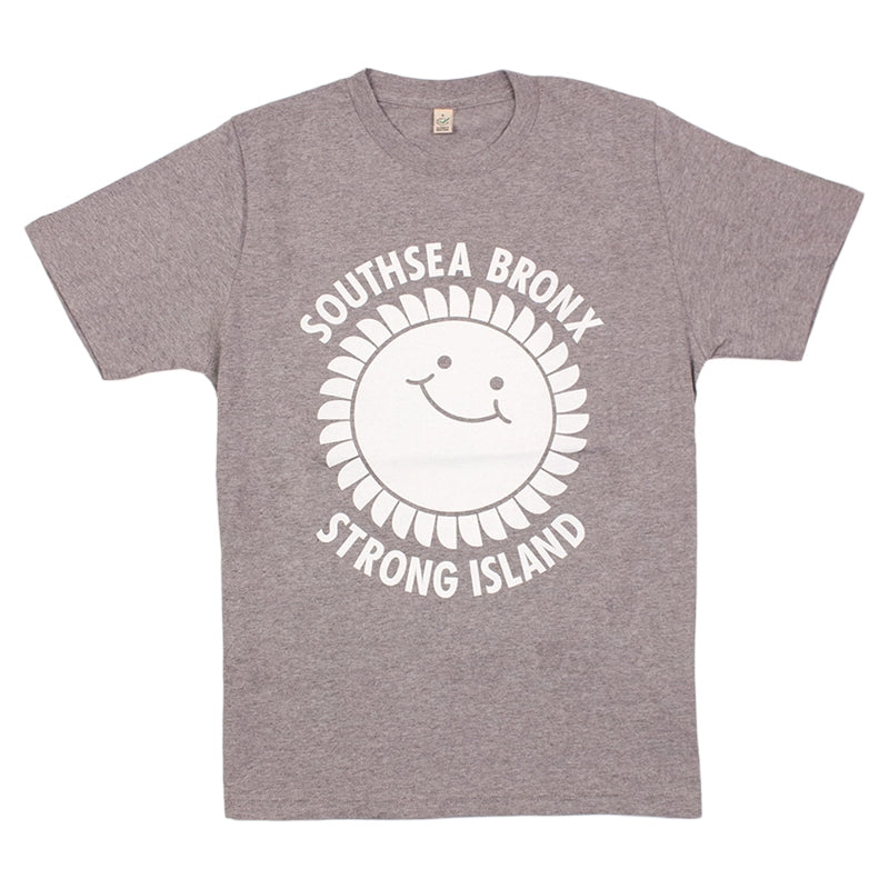 Southsea Bronx Strong Island T Shirt in White on Heather Grey