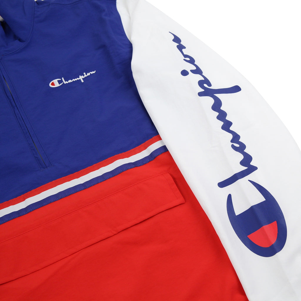 Champion Reverse Weave Half Zip Track Top in Red / Blue / White - Print