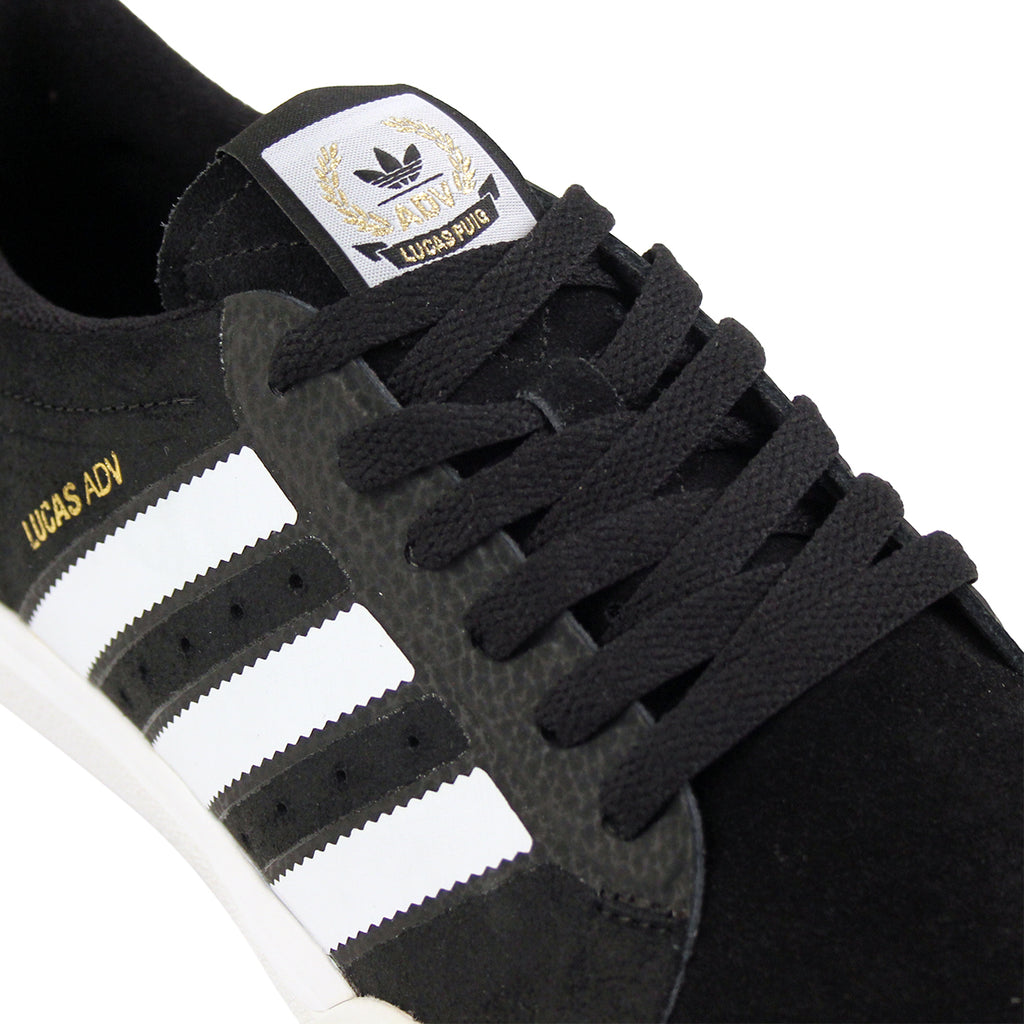 Adidas Skateboarding Lucas ADV Shoes in Core Black/FTW White/Gold Metallic - Detail