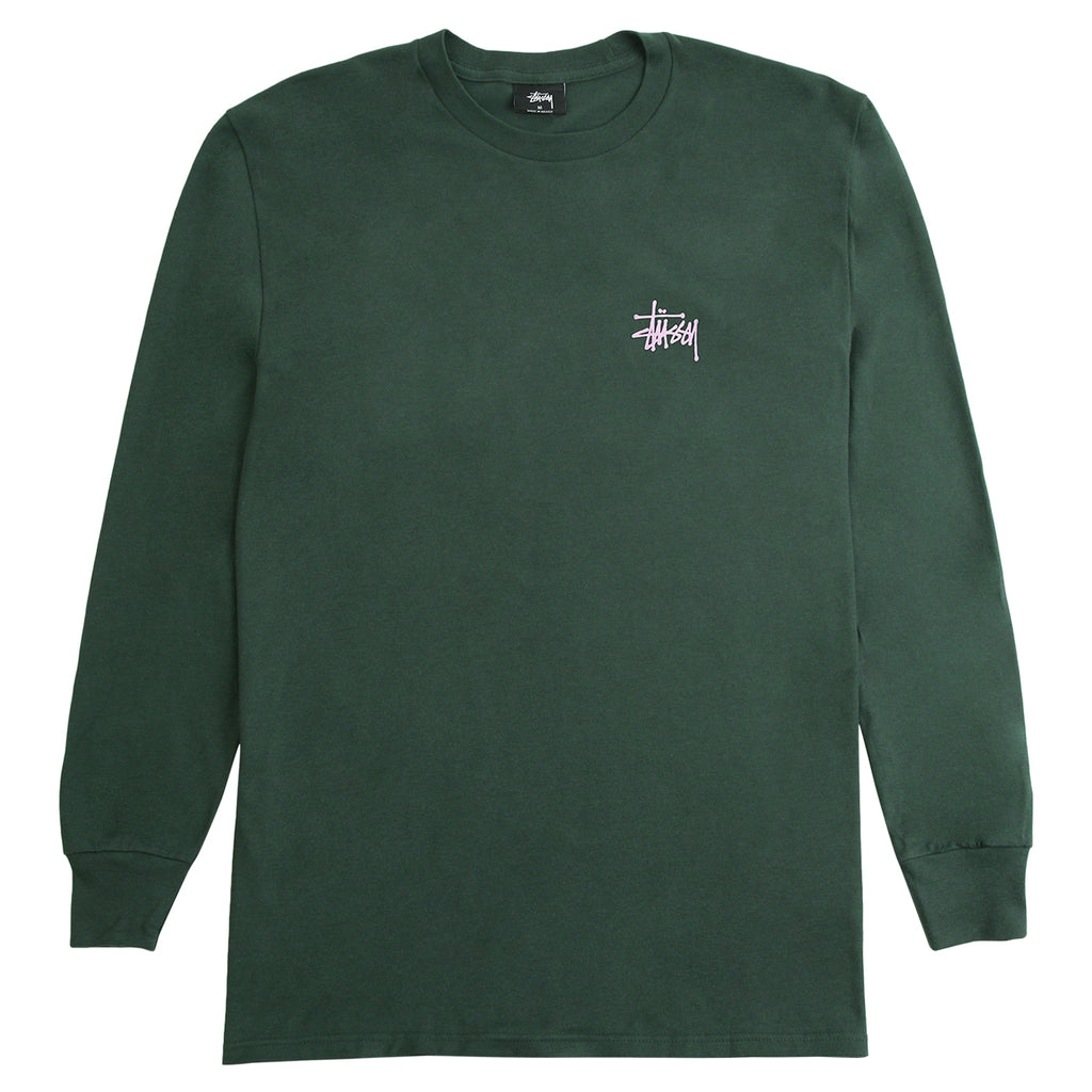 Stussy Basic Stussy L/S T Shirt in Dark Forest - Top