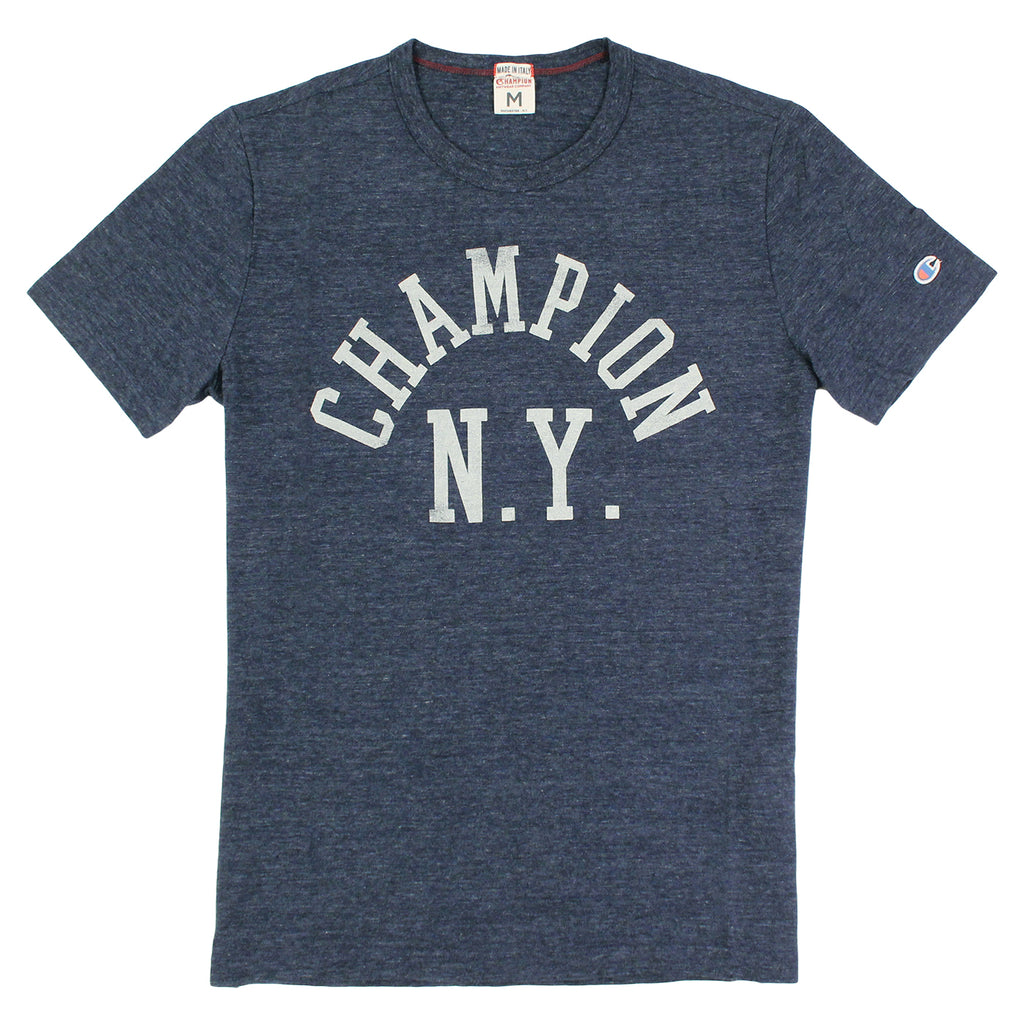 Champion Crew Neck T Shirt in Melange Blue