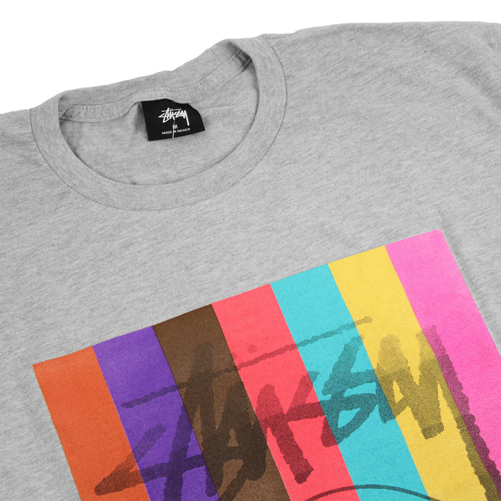 Stussy Colour Squares T Shirt in Heather Grey - Detail