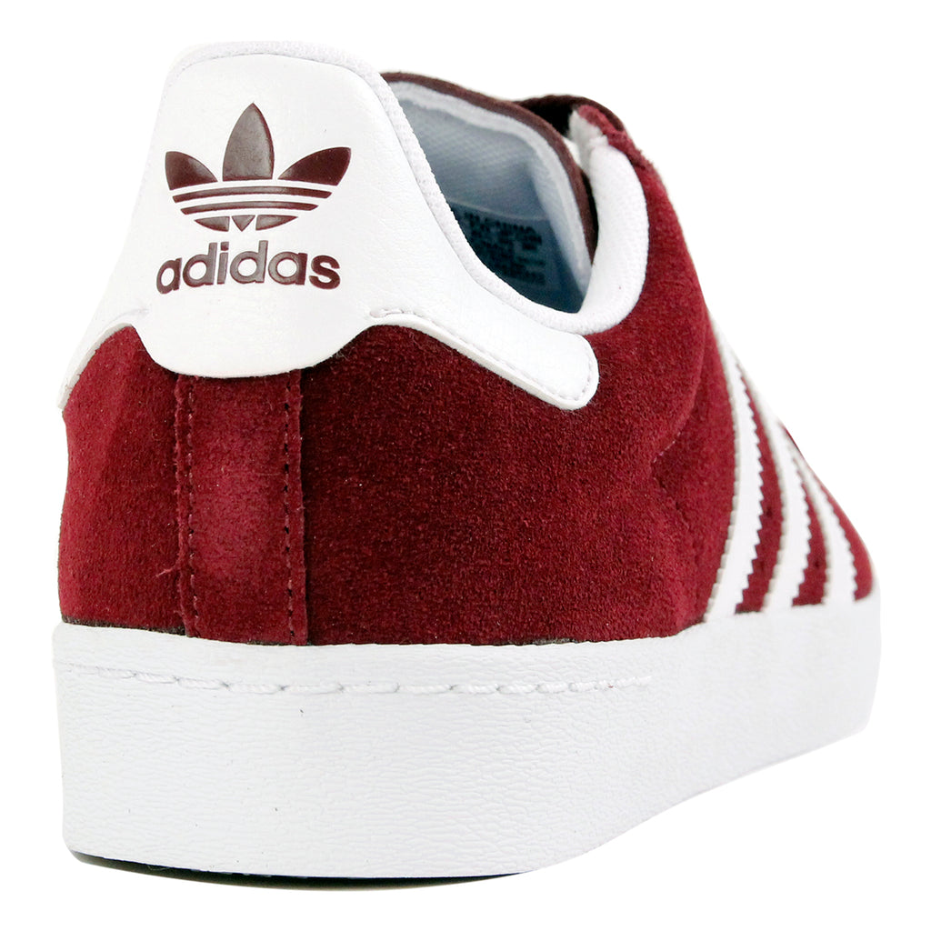 Adidas Skateboarding Superstar Vulc ADV Shoes in Maroon / FTW White / FTW White - Heel