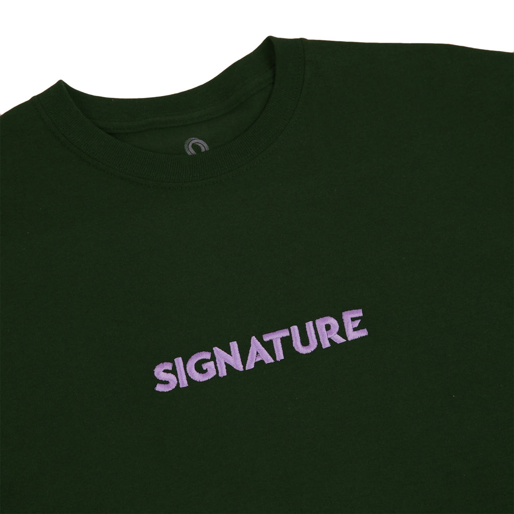 Signature Clothing Classic Logo Embroidered T Shirt in Forest Green / Lilac - Detail