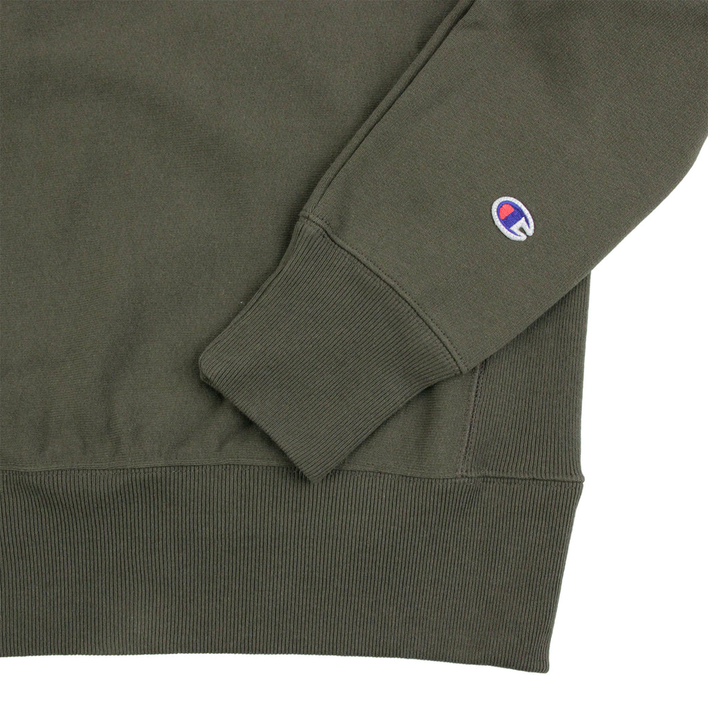 Champion Reverse Weave Crew Neck Sweatshirt in Olive - Cuff