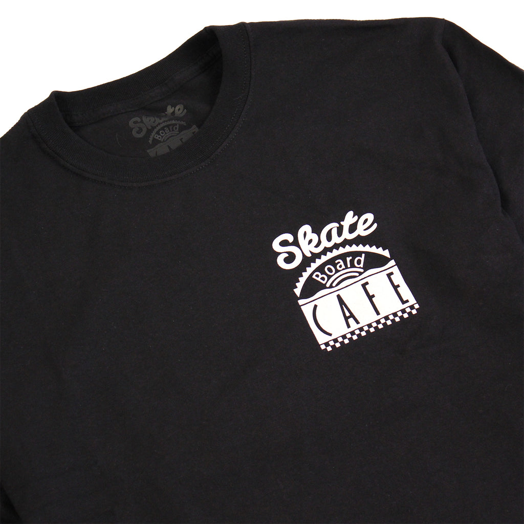 Skateboard Cafe Diner L/S T Shirt in Black - Collar