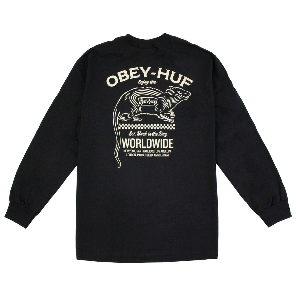HUF x Obey Rat Race L/S T Shirt in Black - Back