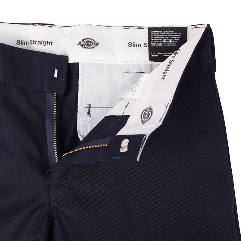 Dickies 873 Slim Straight Work Pant in Dark Navy - Zipper