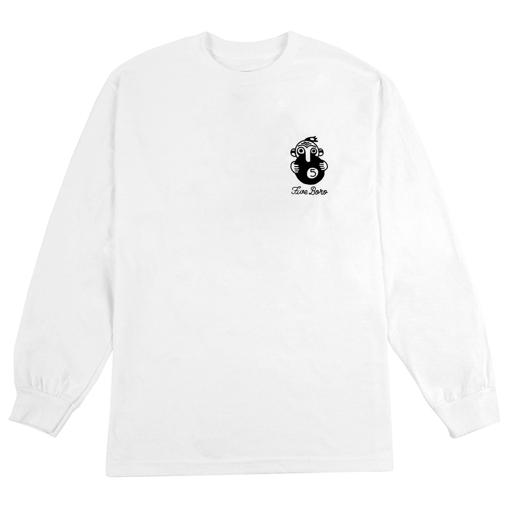 5Boro 5 Ball L/S T Shirt in White - Front