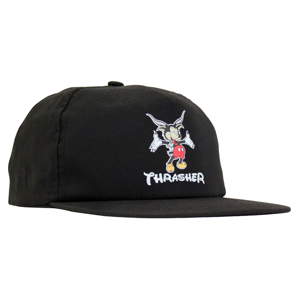 Thrasher Mousegoat Snapback Cap in Black