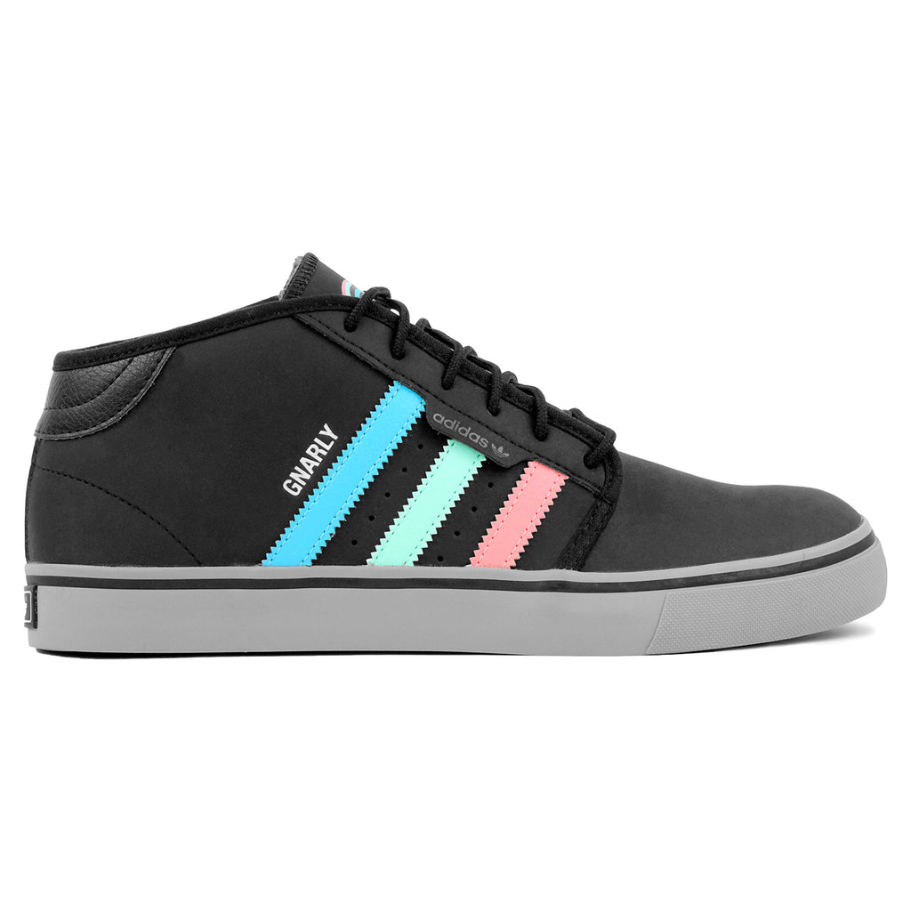 Adidas Skateboarding x Gnarly Seeley Mid Shoes in Core Black / Light Aqua