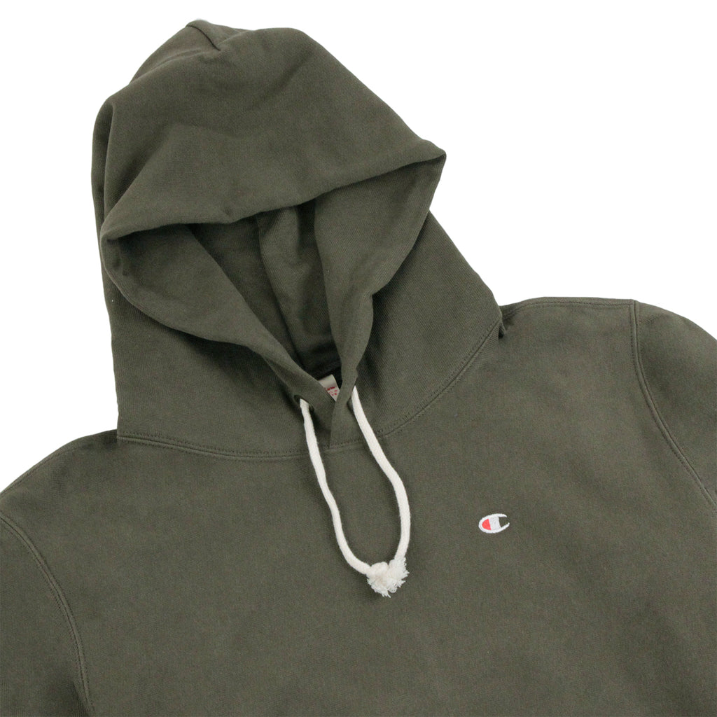 Champion Hooded Sweatshirt in Olive - Detail