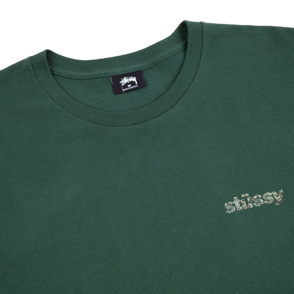 Stussy Camo Italic T Shirt in Pine - Detail