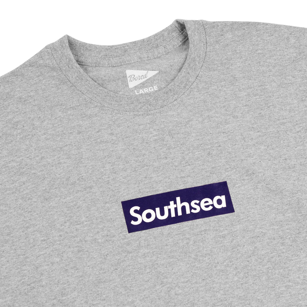 "Bored of Southsea ""Southsea"" Long Sleeve T Shirt in Heather Grey / Blue Box  - Detail"