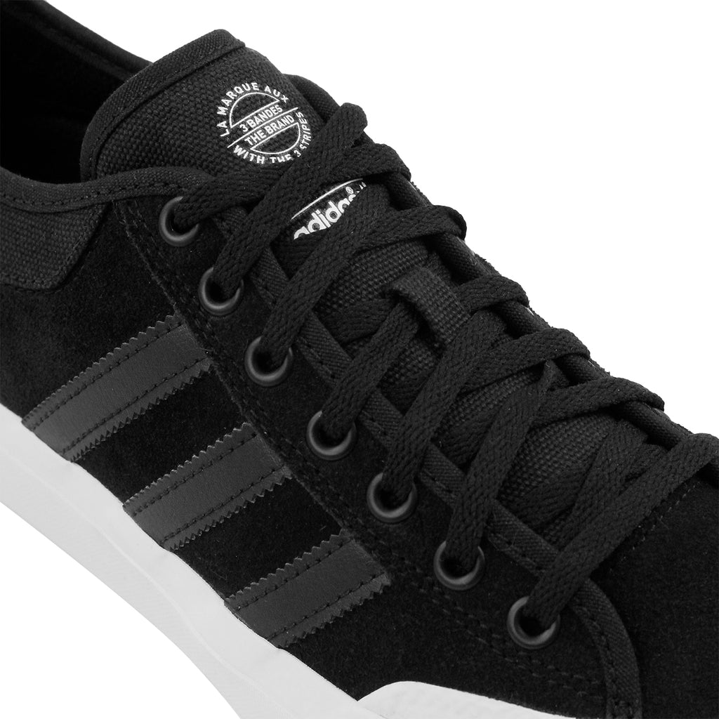 Adidas Skateboarding Matchcourt Shoes in Core Black / Core Black / FTW White - Laces