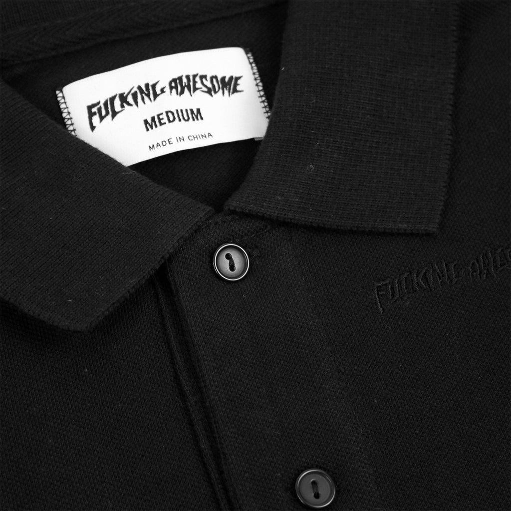 Fucking Awesome Logo Polo Shirt in Black - Collar