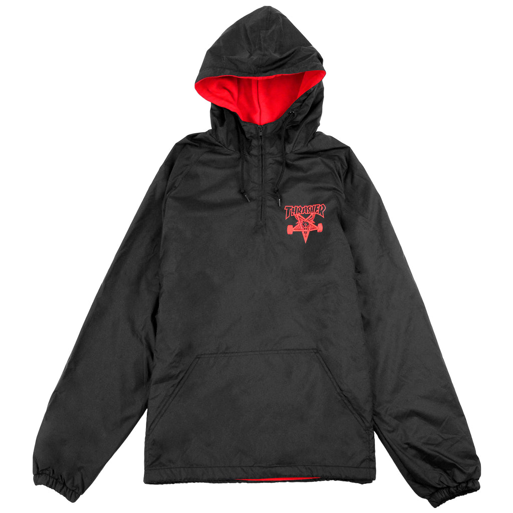 Thrasher Skategoat Coach Hooded Jacket in Black / Red