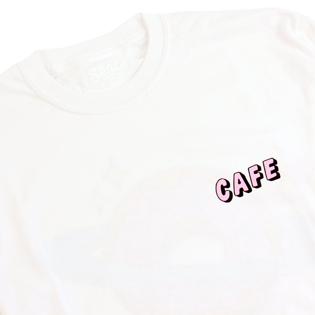 Skateboard Cafe Planet Donut L/S T Shirt in White - Collar
