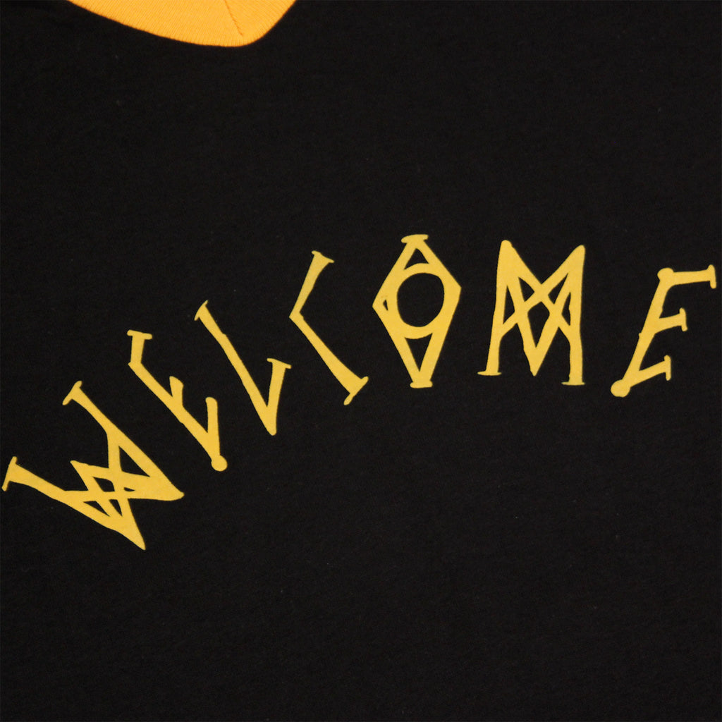 Angels Baseball Ringer T Shirt in Black/Yellow by Welcome Skateboards - Print