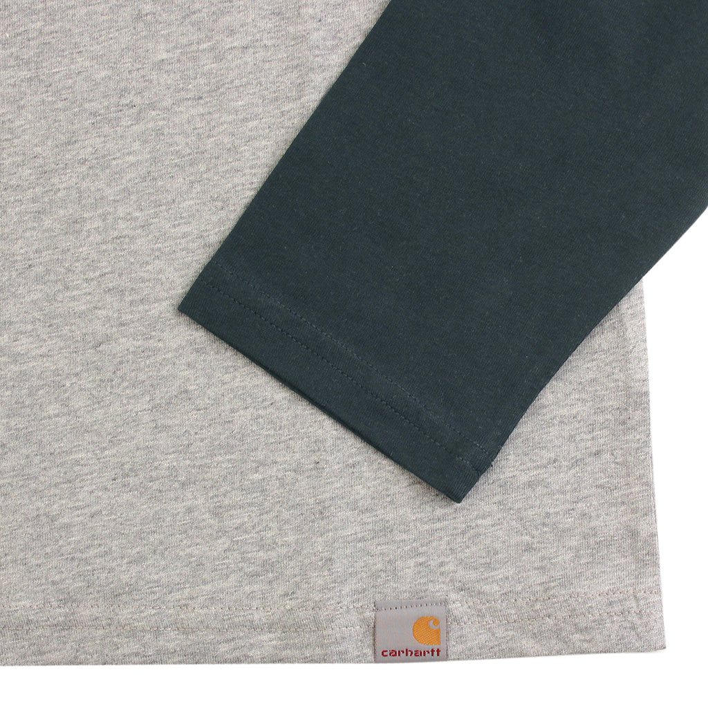 Carhartt Dodgers L/S T Shirt in Heather Grey / Dark Petrol - Sleeve