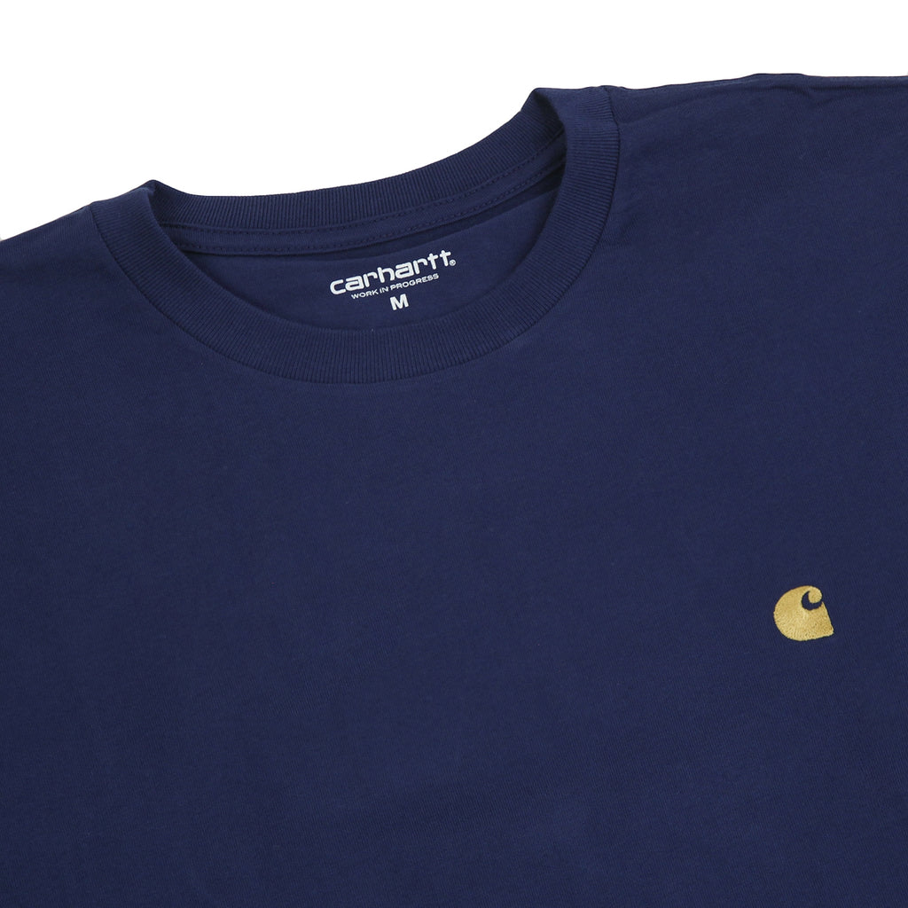 Carhartt L/S Chase T Shirt in Metro Blue / Gold - Detail