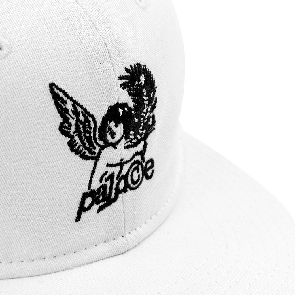 Palace Cherub 6 Panel Cap in White - Detail