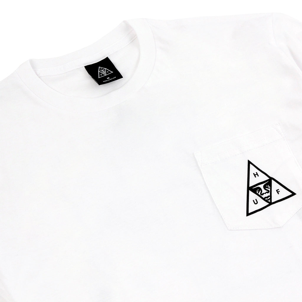HUF x Obey Triple Triangle Pocket T Shirt in White - Detail