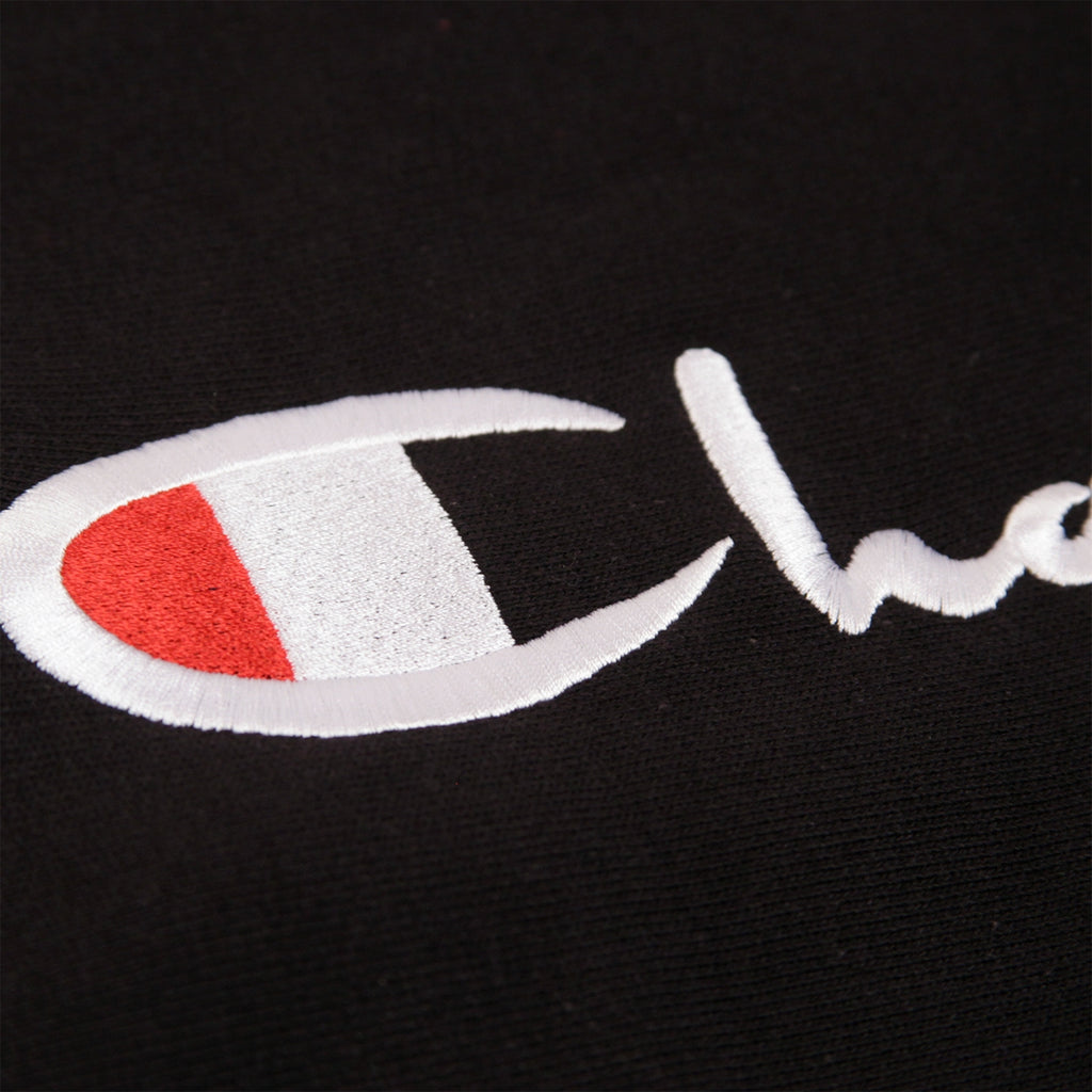 Champion Reverse Weave Script Logo Crew Sweatshirt in Black - Embroidery