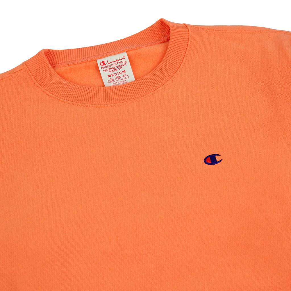 Champion Reverse Weave Classic Crew Sweatshirt in Safety Orange - Detail