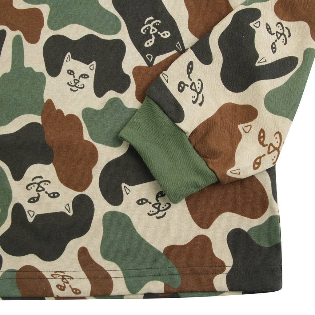 RIPNDIP L/S Lord Nermal T Shirt in Army Camo - Cuff