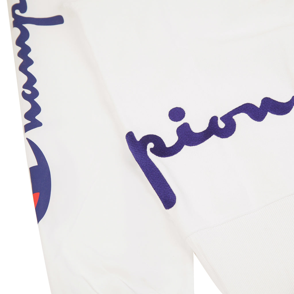 Champion Reverse Weave Training Crew Sweatshirt in White - Back Embroidery