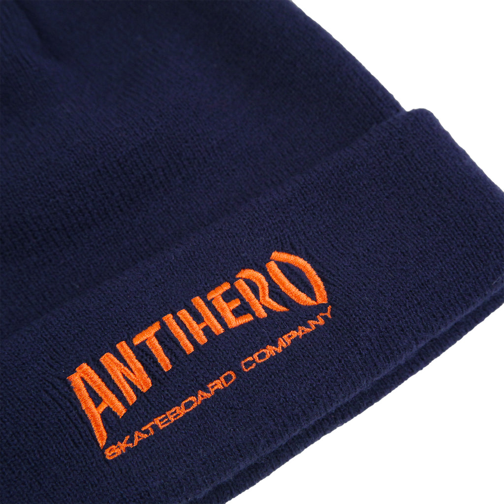 Anti Hero Skateboards Skate Co Beanie in Navy - Detail