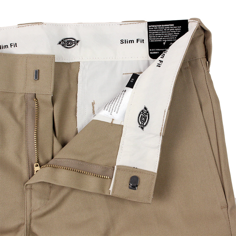 Dickies 273 Slim Fit Work Shorts in Khaki - Zipper