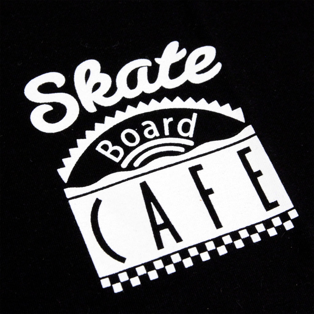 Skateboard Cafe Diner Ring T Shirt in Black / White - Print