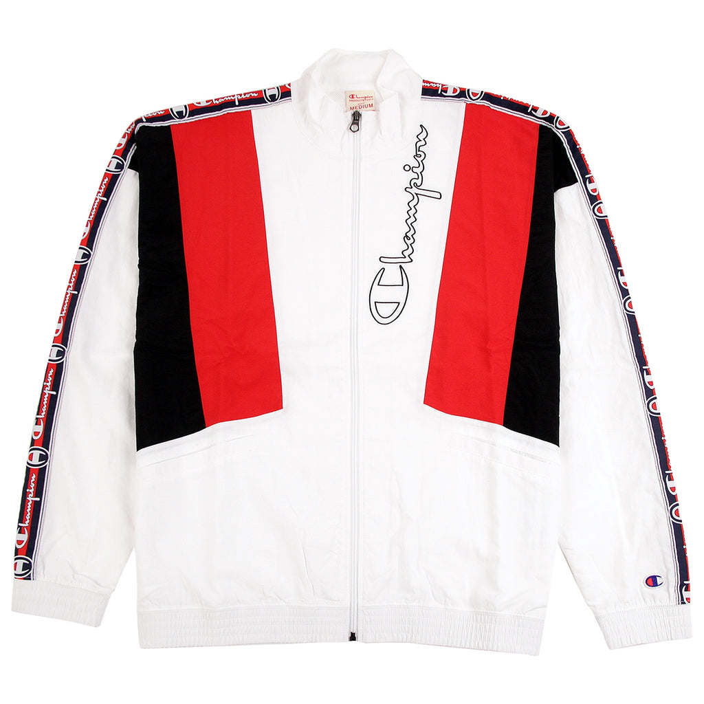 Champion Reverse Weave Taped Track Jacket in White / Red / Black