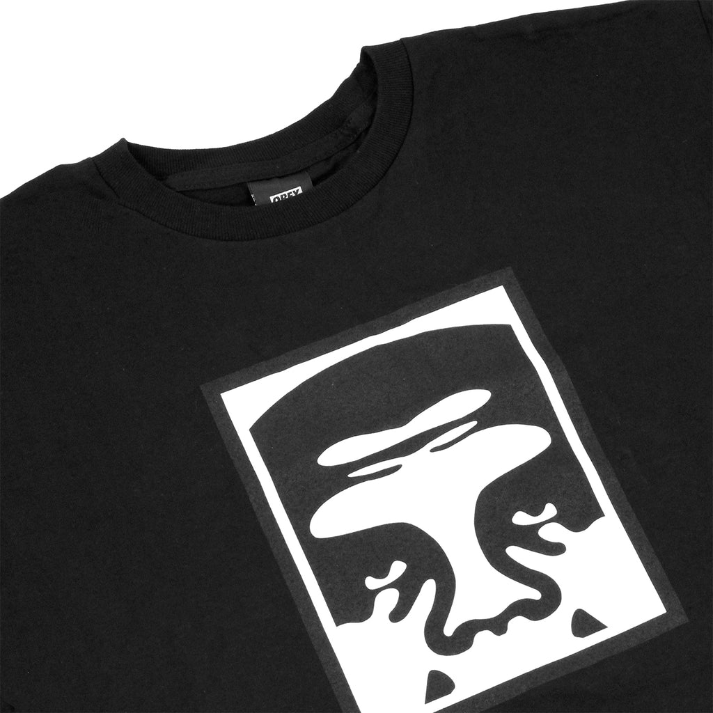 Obey Clothing Half Face Icon T Shirt in Black - Detail